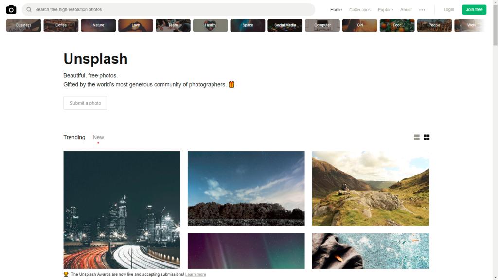 unsplash - photos libre de droits