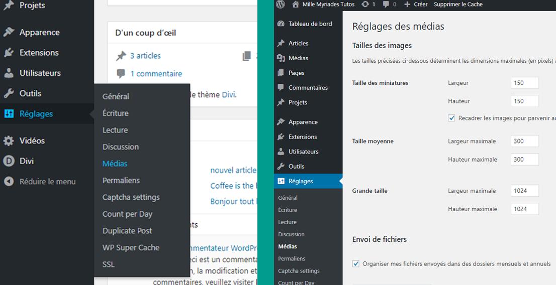 Dimensions et formats - Réglages de la taille d'images sur WordPress