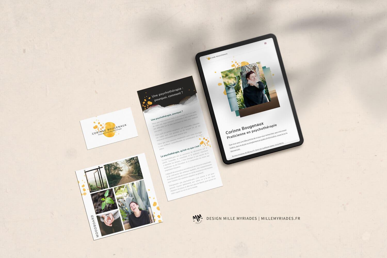 Corinne Bougenaux - praticienne en psychothérapie, identité visuelle, carte visite, flyer et site web
