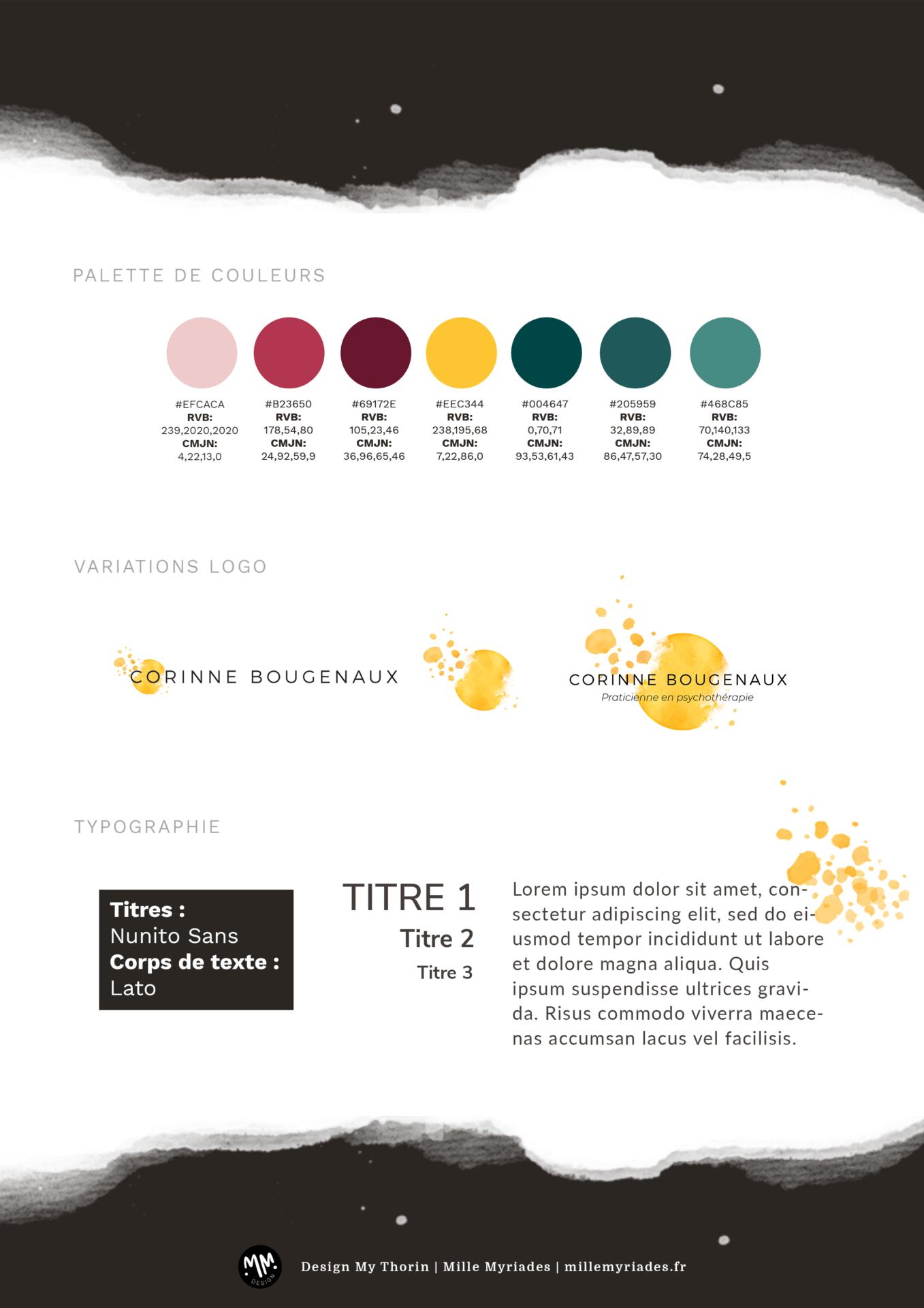 Corinne Bougenaux Idenitité visuelle - Brandboard couleurs